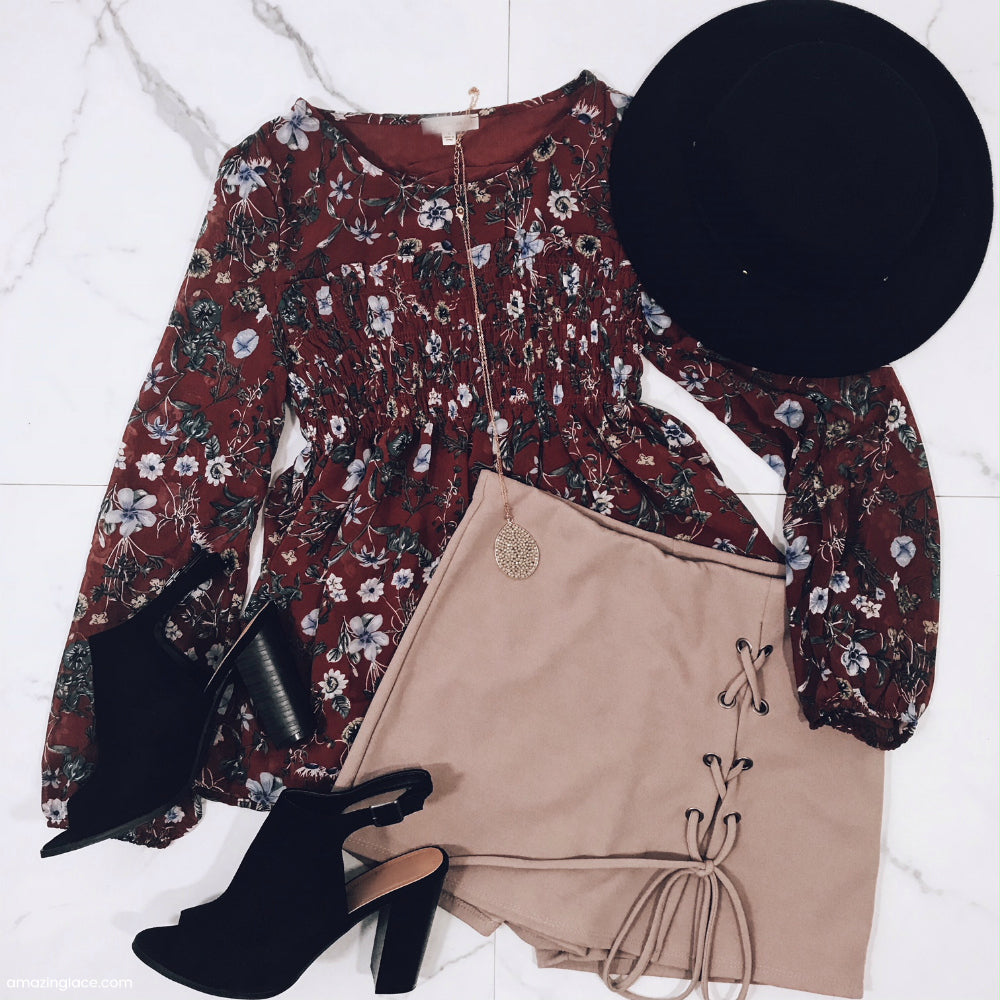 RUST FLORAL SMOCKED TOP AND SKORT OUTFIT