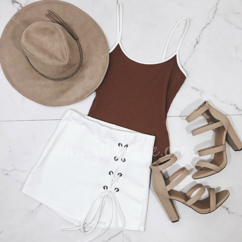 MOCHA TANK TOP AND SKORT OUTFIT