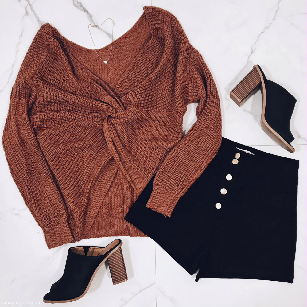 TAUPE TWIST BACK SWEATER AND SHORTS OUTFIT
