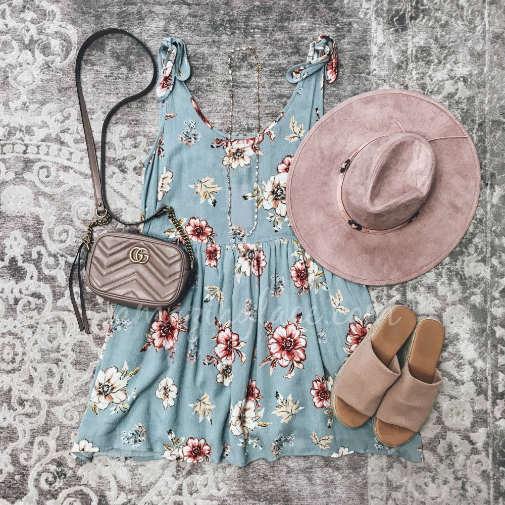 TIE SHOULDER FLORAL DRESS AND PINK HAT OUTFIT