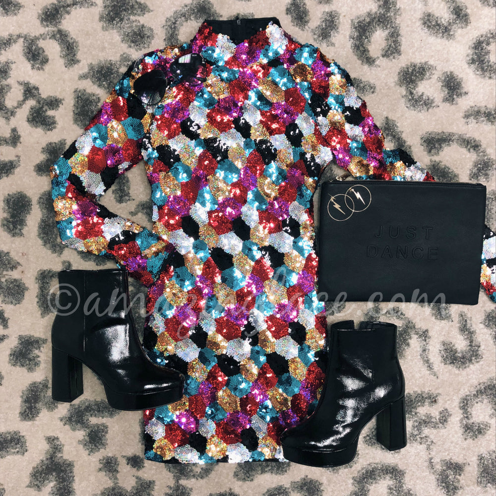 SEQUIN DRESS AND PATENT PLATFORM BOOTIES OUTFIT