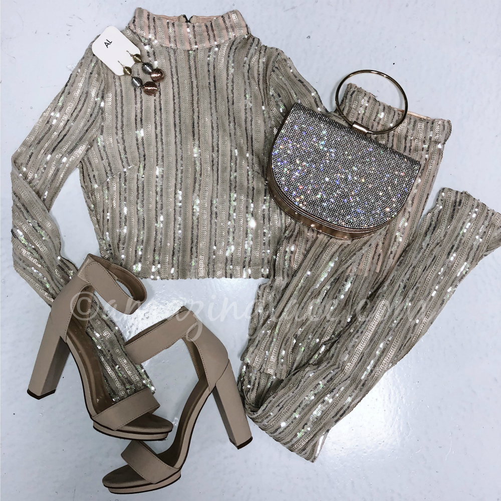 TWO PIECE SEQUIN SET AND NUDE HEELS OUTFIT