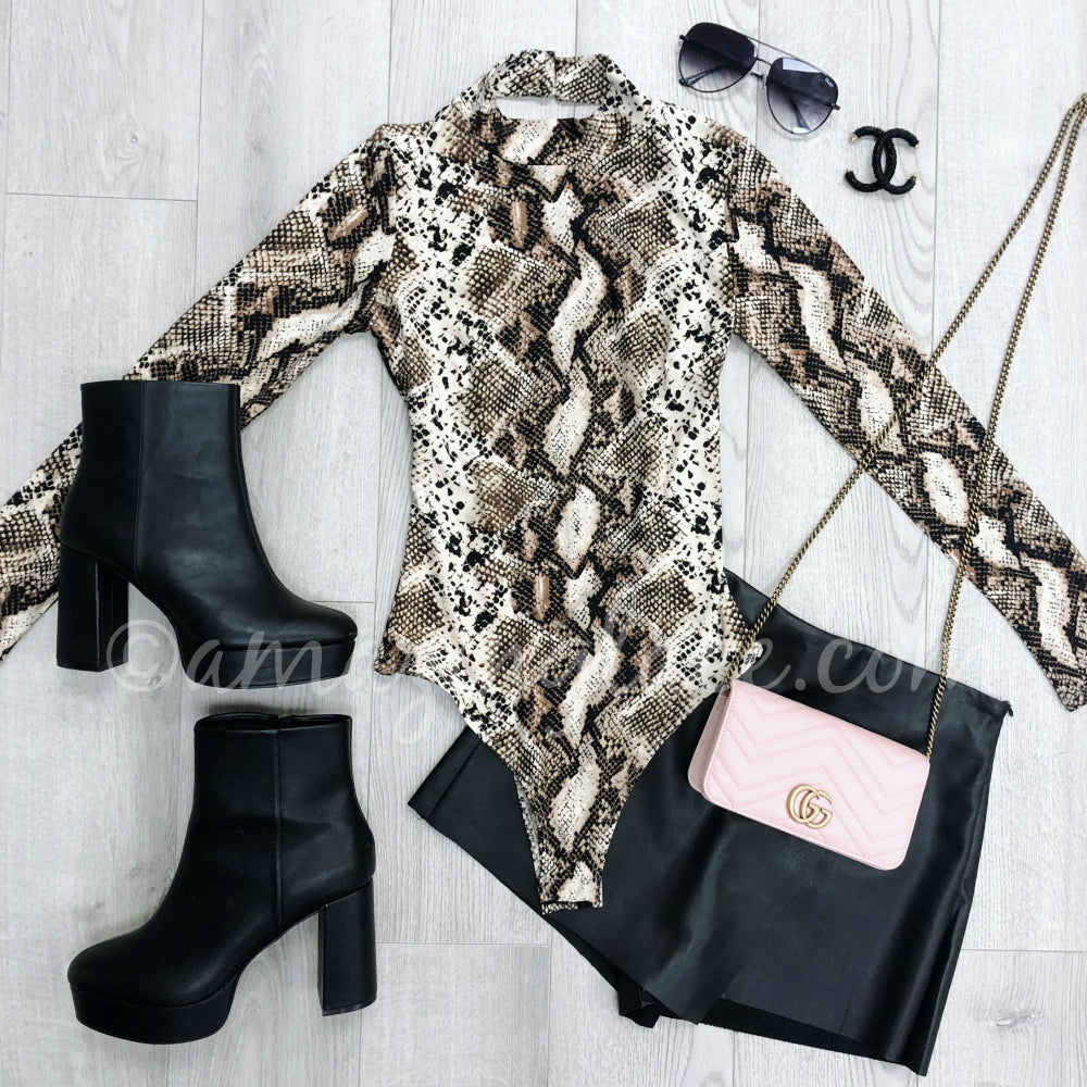SNAKE BODYSUIT AND CHINESE LAUNDRY BOOTIES OUTFIT