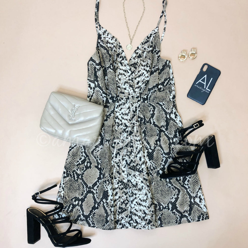 SNAKE DRESS AND BLACK STRAPPY HEELS OUTFIT