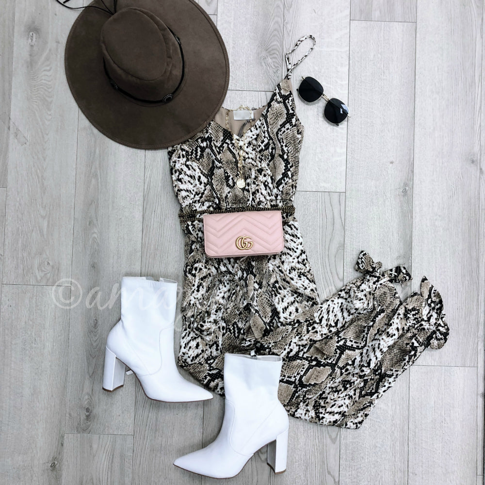 SNAKE JUMPSUIT CHINESE LAUNDRY WHITE POINTED BOOTIES