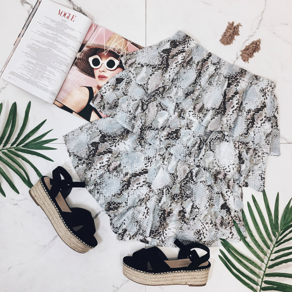 SNAKE ROMPER AND ESPADRILLES OUTFIT