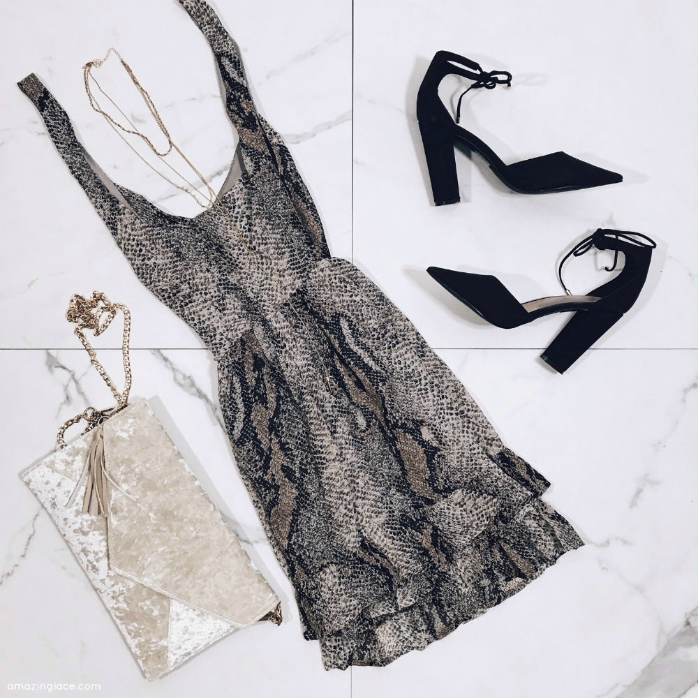 SNAKE SKIN SLEEVELESS DRESS AND HEELS OUTFIT