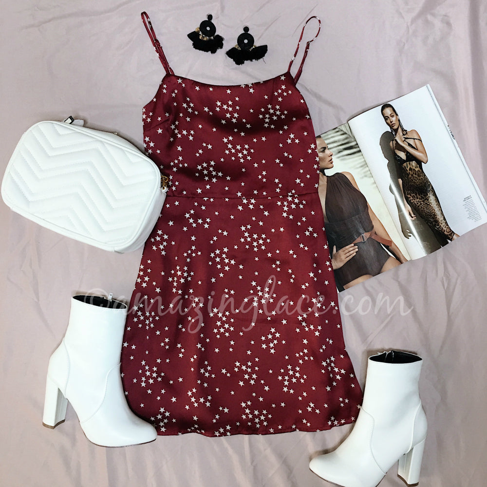 SATIN STAR DRESS AND BOOTS OUTFIT