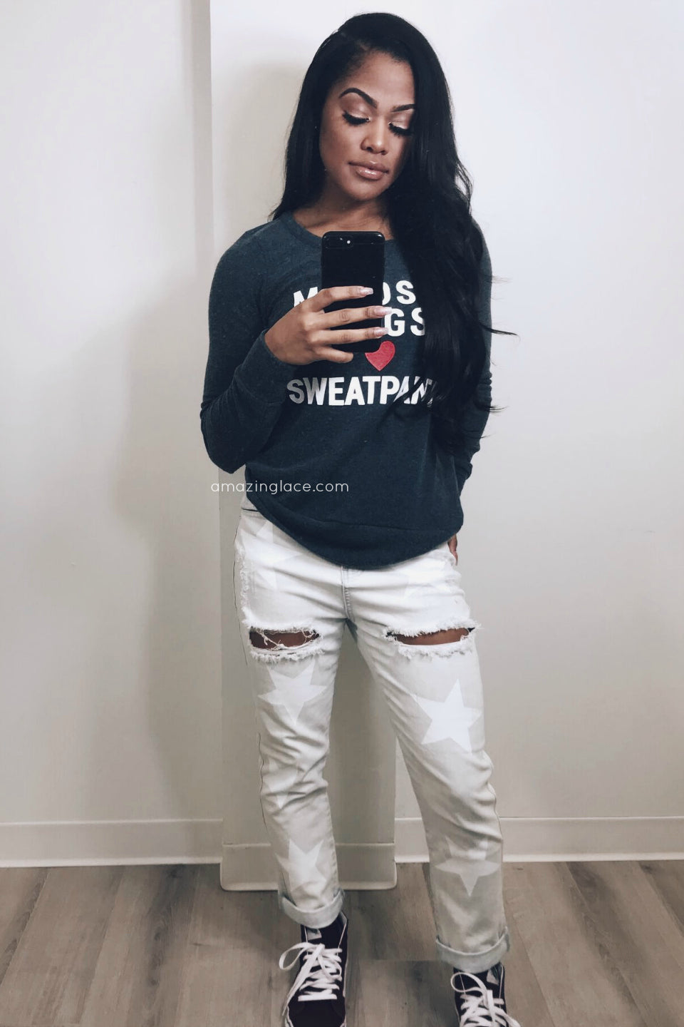 STAR DENIM AND CHASER SWEATER OUTFIT