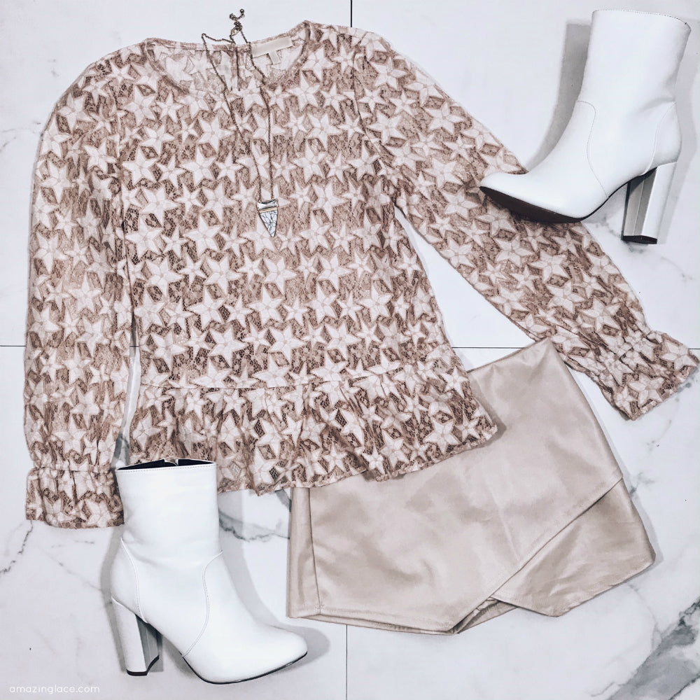 SHEER STAR TOP AND CREAM SKORT OUTFIT