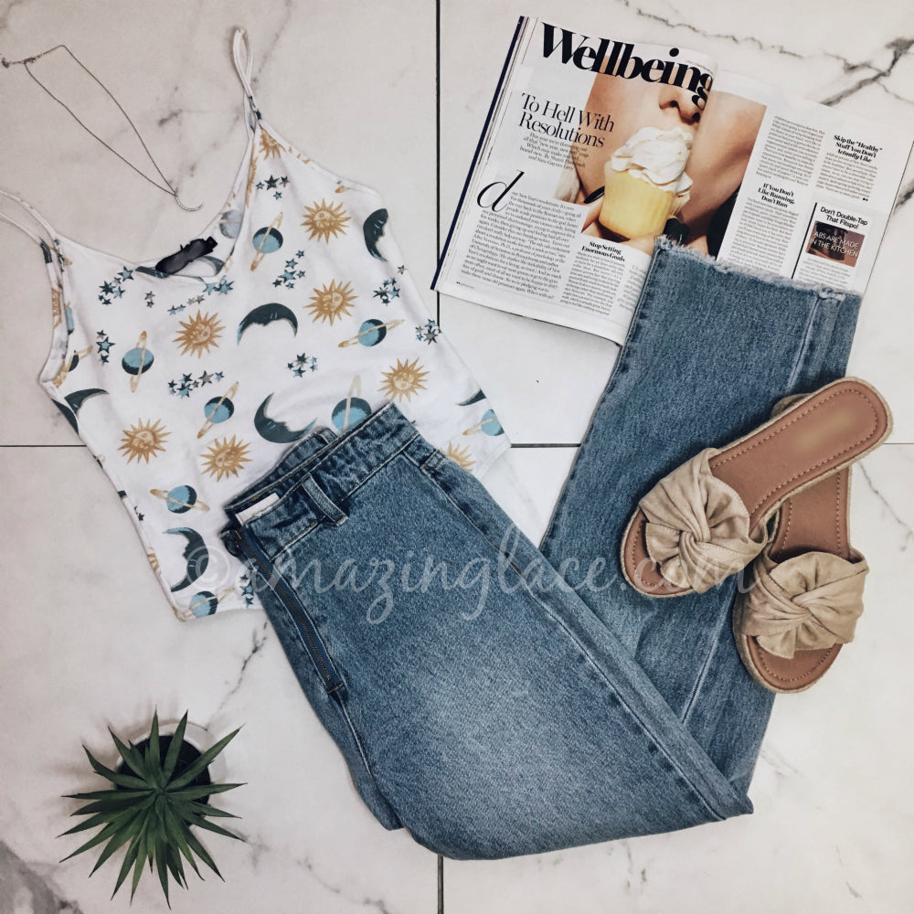 STAR AND MOON BODYSUIT AND DENIM OUTFIT