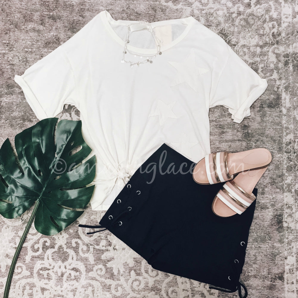 STAR TOP AND NAVY LACE UP SHORTS OUTFIT