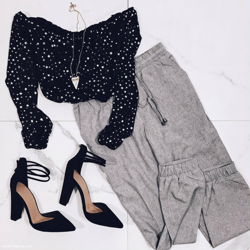 STAR CROP TOP AND GRAY DRAWSTRING PANTS OUTFIT