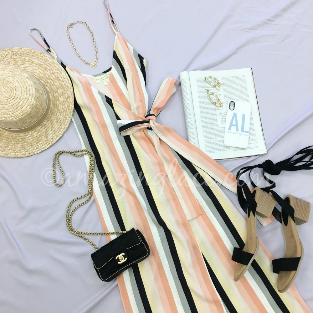 SALT WATER LUXE STRIPE DRESS AND LACE UP HEELS OUTFIT