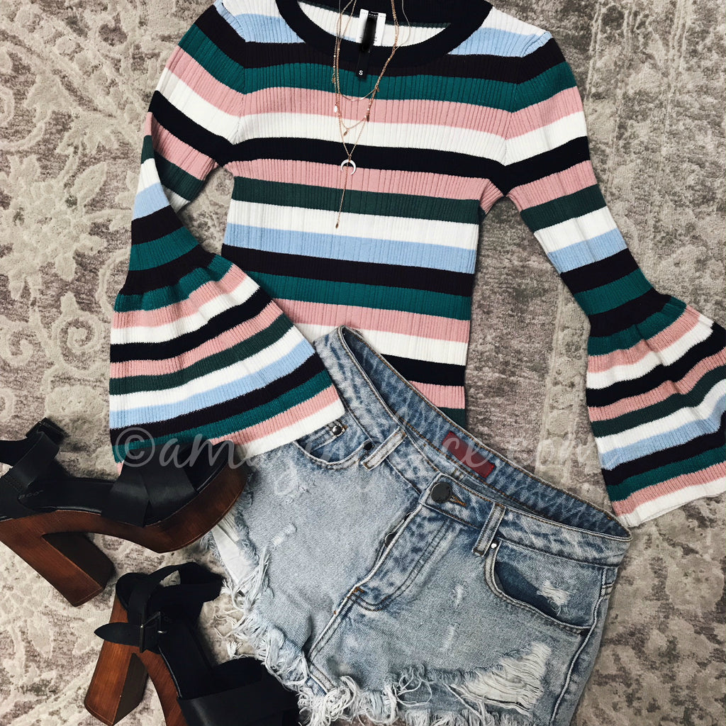 STRIPED BELL SLEEVE TOP AND DENIM SHORTS OUTFIT