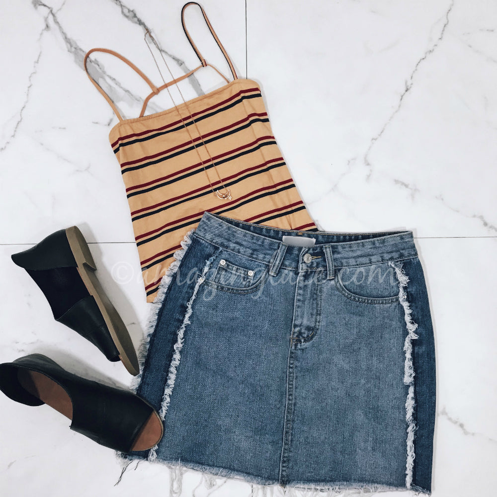 STRIPED BODYSUIT AND JEAN SKIRT OUTFIT