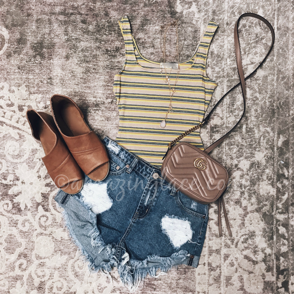YELLOW STRIPED BODYSUIT SHORTS AND GUCCI BAG OUTFIT
