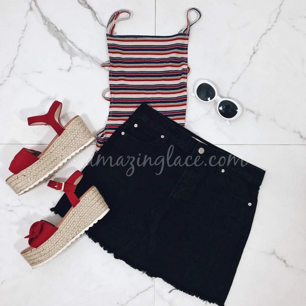 STRIPED BODYSUIT AND BLACK DENIM SKIRT OUTFIT