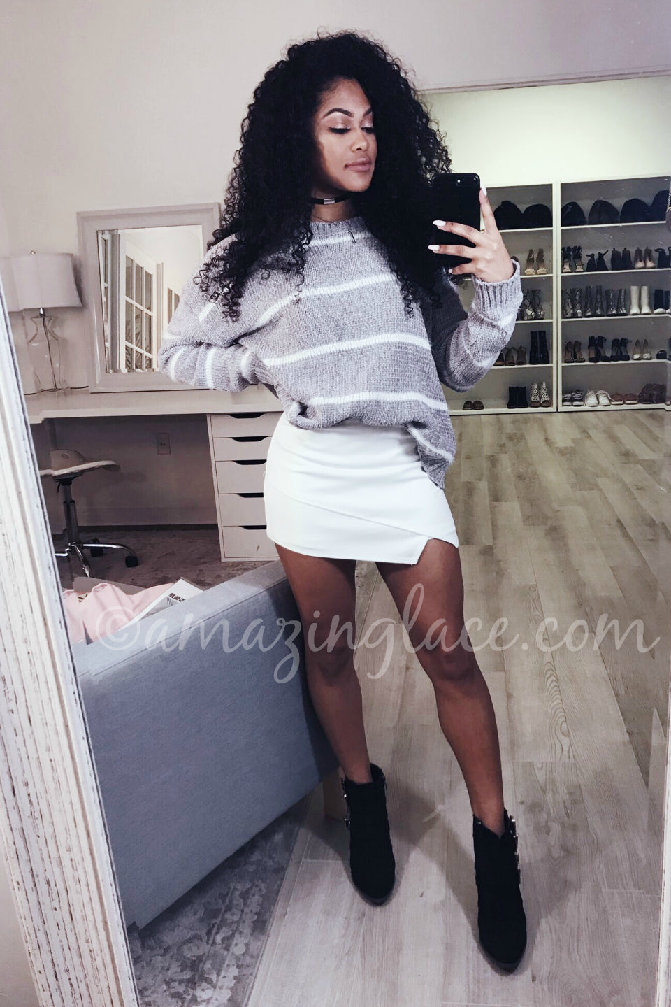 STRIPED CHENILLE SWEATER AND WHITE SKORT OUTFIT