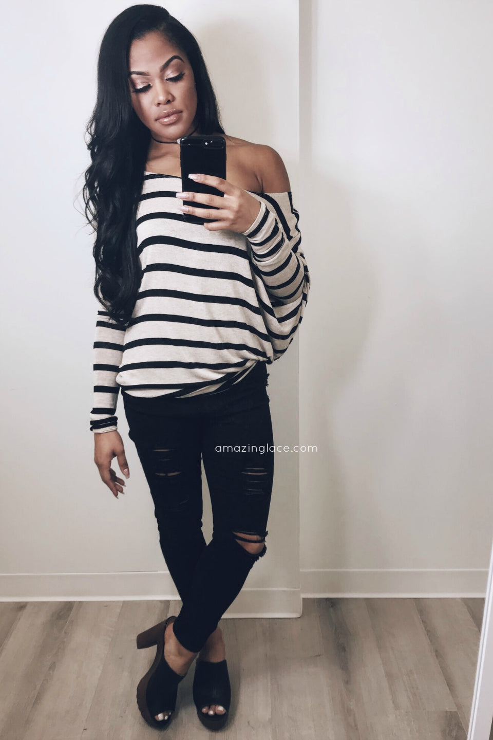 STRIPED OFF SHOULDER TOP AND BLACK PANTS OUTFIT
