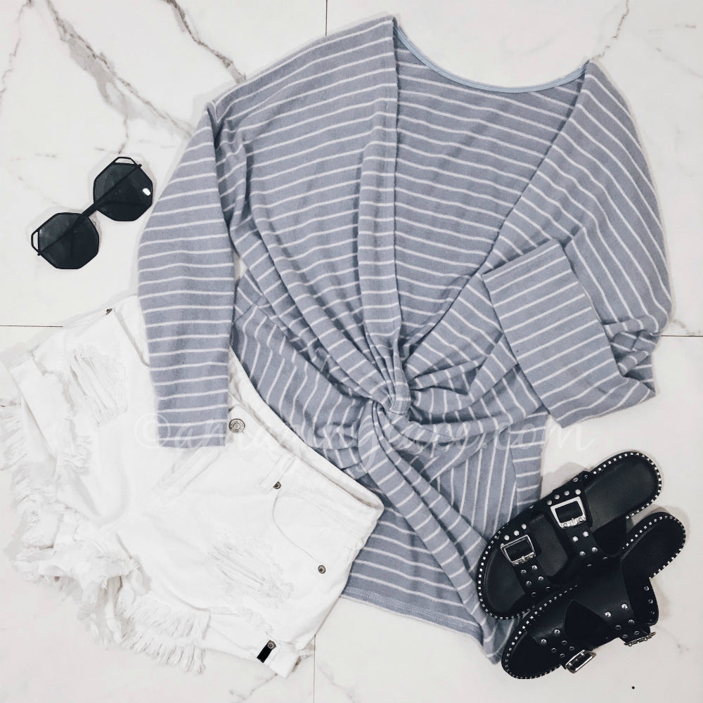 BLUE TWIST BACK SWEATER AND SHORTS OUTFIT