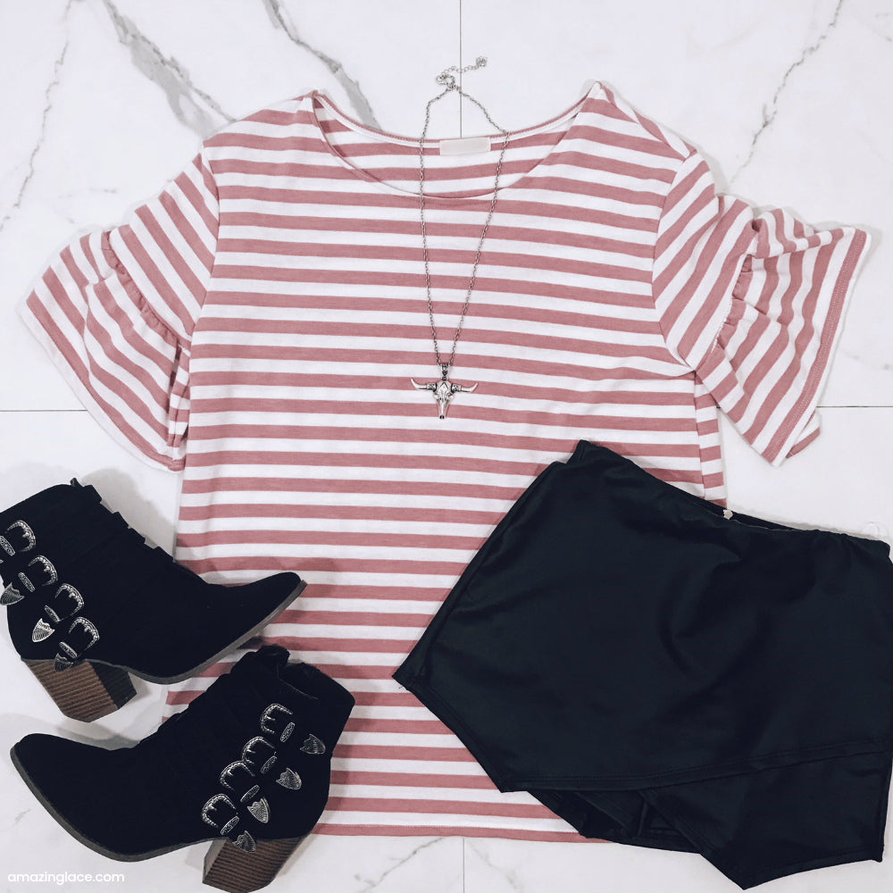 STRIPED BELL SLEEVE TOP AND BLACK SKORT OUTFIT