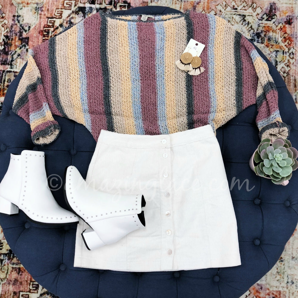 STRIPED SWEATER AND IVORY CORDUROY SKIRT OUTFIT