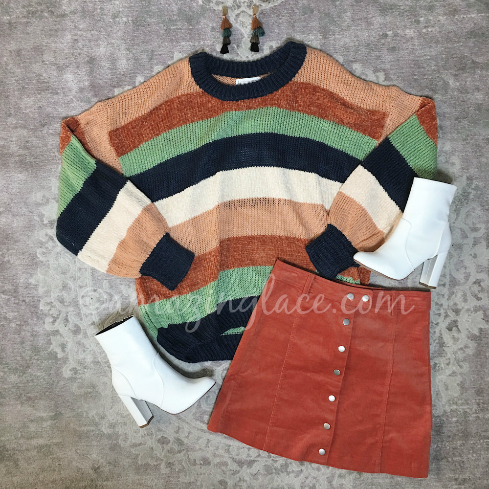 STRIPED SWEATER AND RUST CORDUROY SKIRT OUTFIT