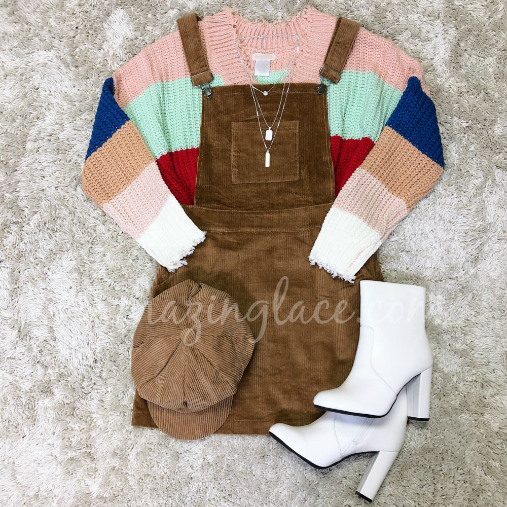 STRIPED RAINBOW SWEATER AND CORDUROY OVERALLS OUTFIT