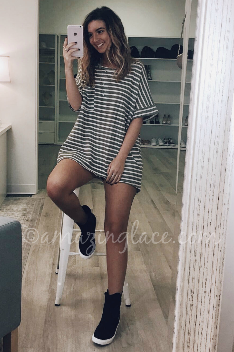 STRIPED TOP AND BLACK SNEAKER BOOTS OUTFIT