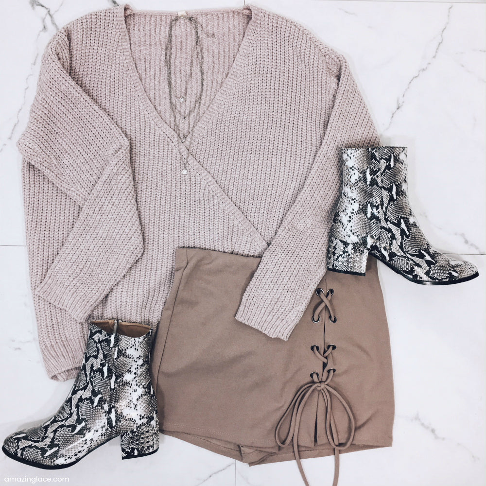 SURPLICE SWEATER AND TAUPE SKORT OUTFIT