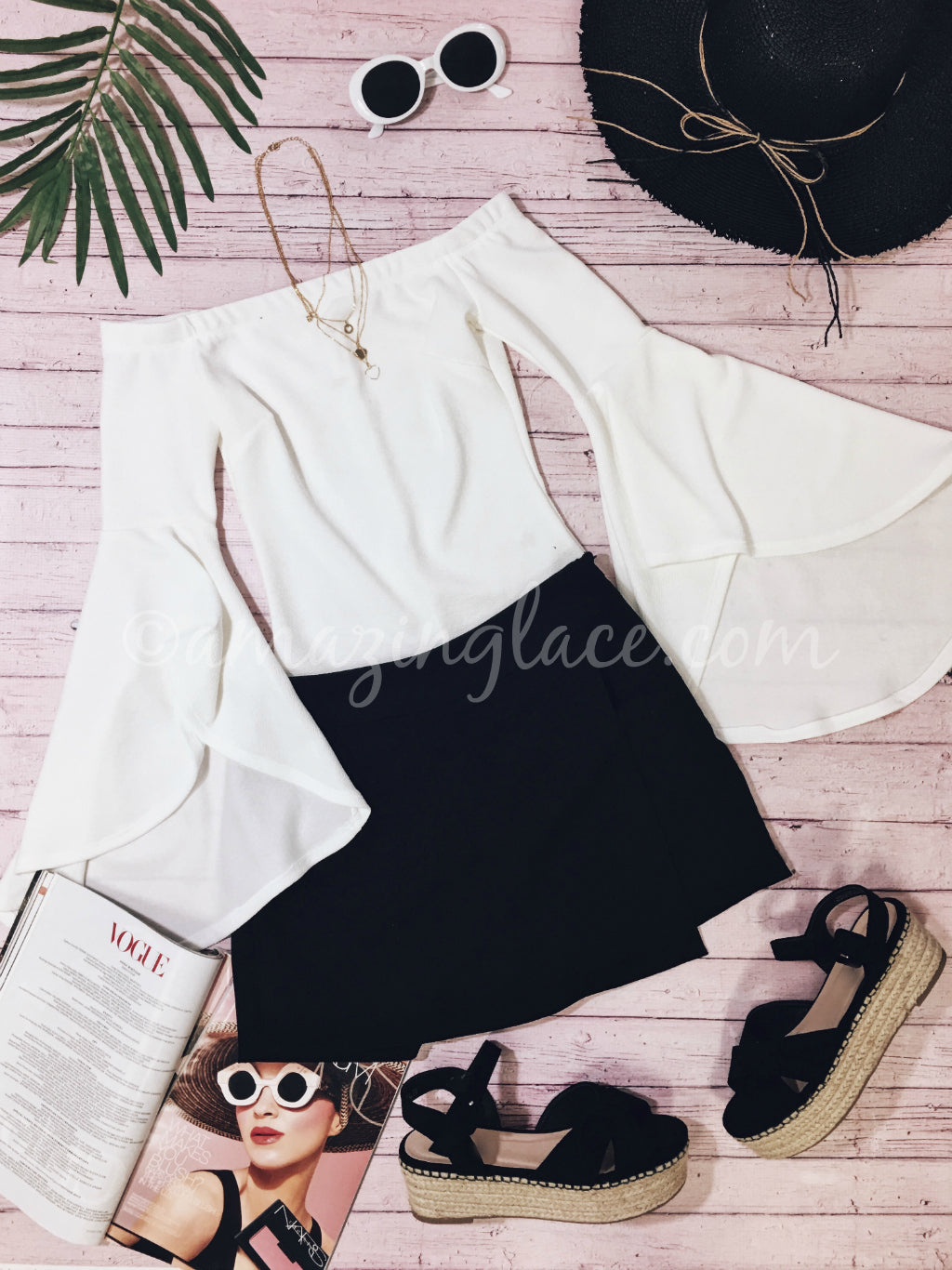 BELL SLEEVE BODYSUIT AND SKORT OUTFIT