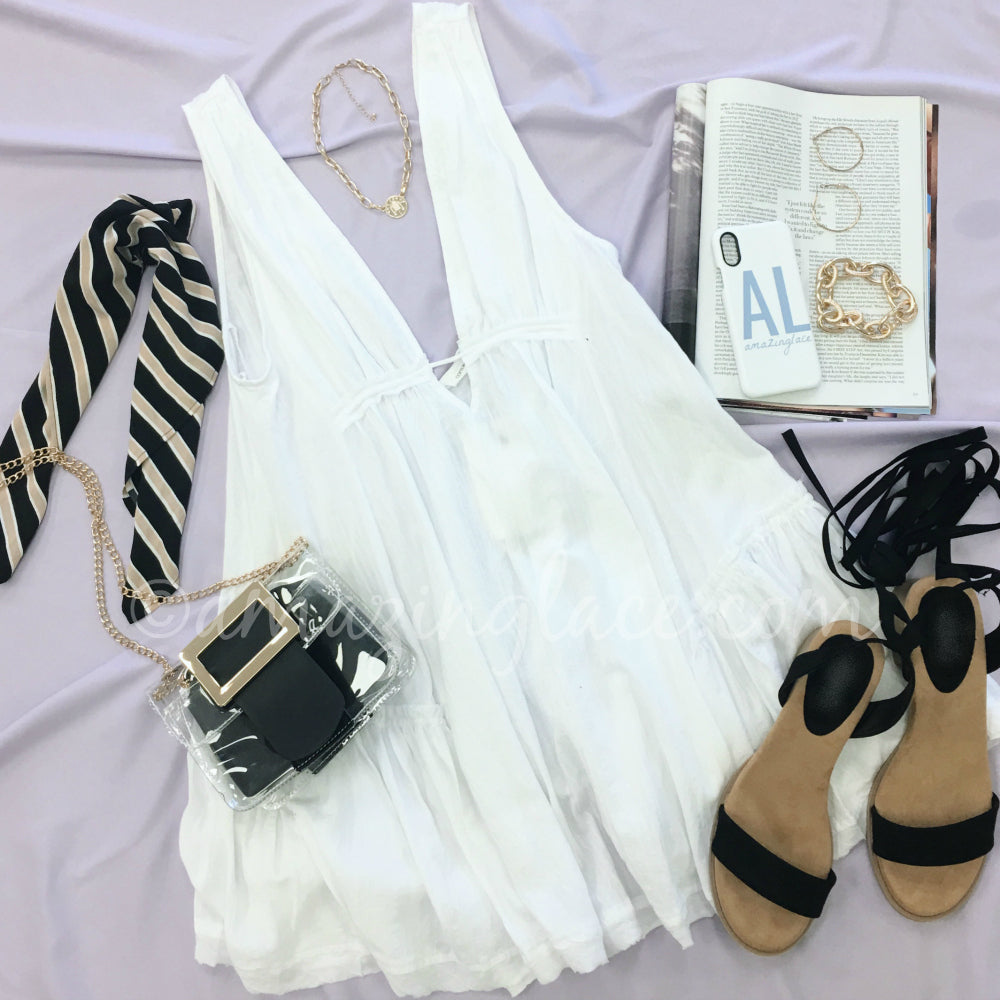 WHITE BOHO DRESS AND BLACK STRAPPY HEELS OUTFIT