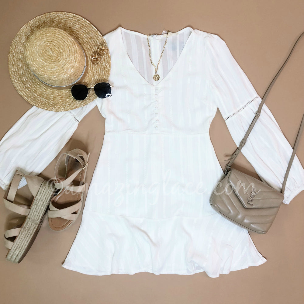 WHITE BUTTON UP DRESS AND ESPADRILLES OUTFIT