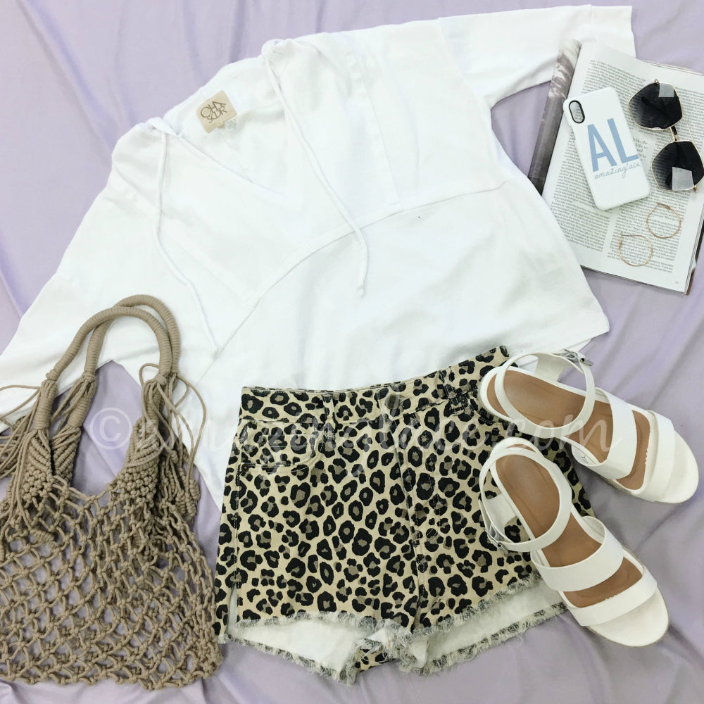 CHASER PULLOVER HOODIE AND LEOPARD SHORTS OUTFIT