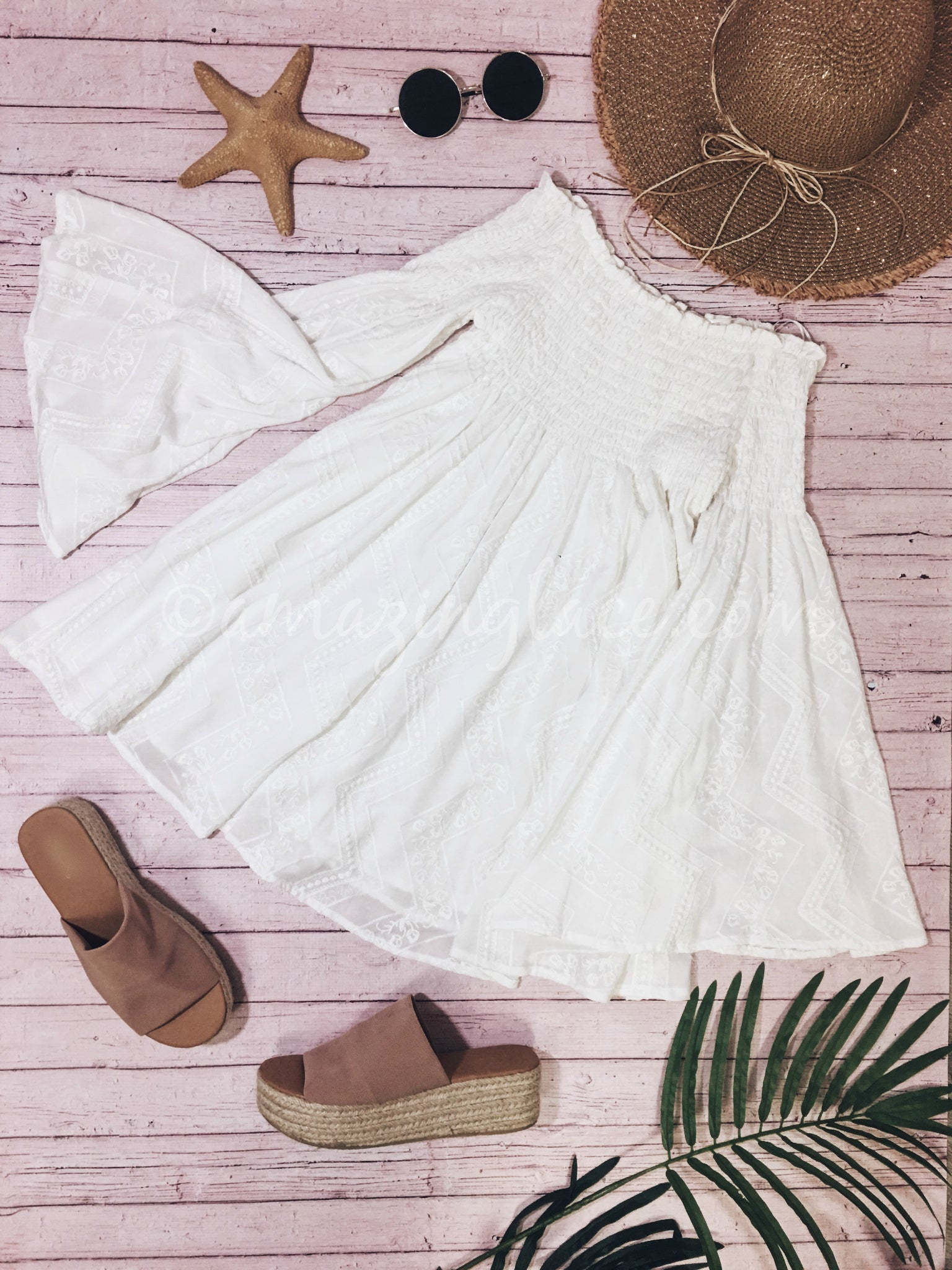 WHITE DRESS AND ESPADRILLES OUTFIT