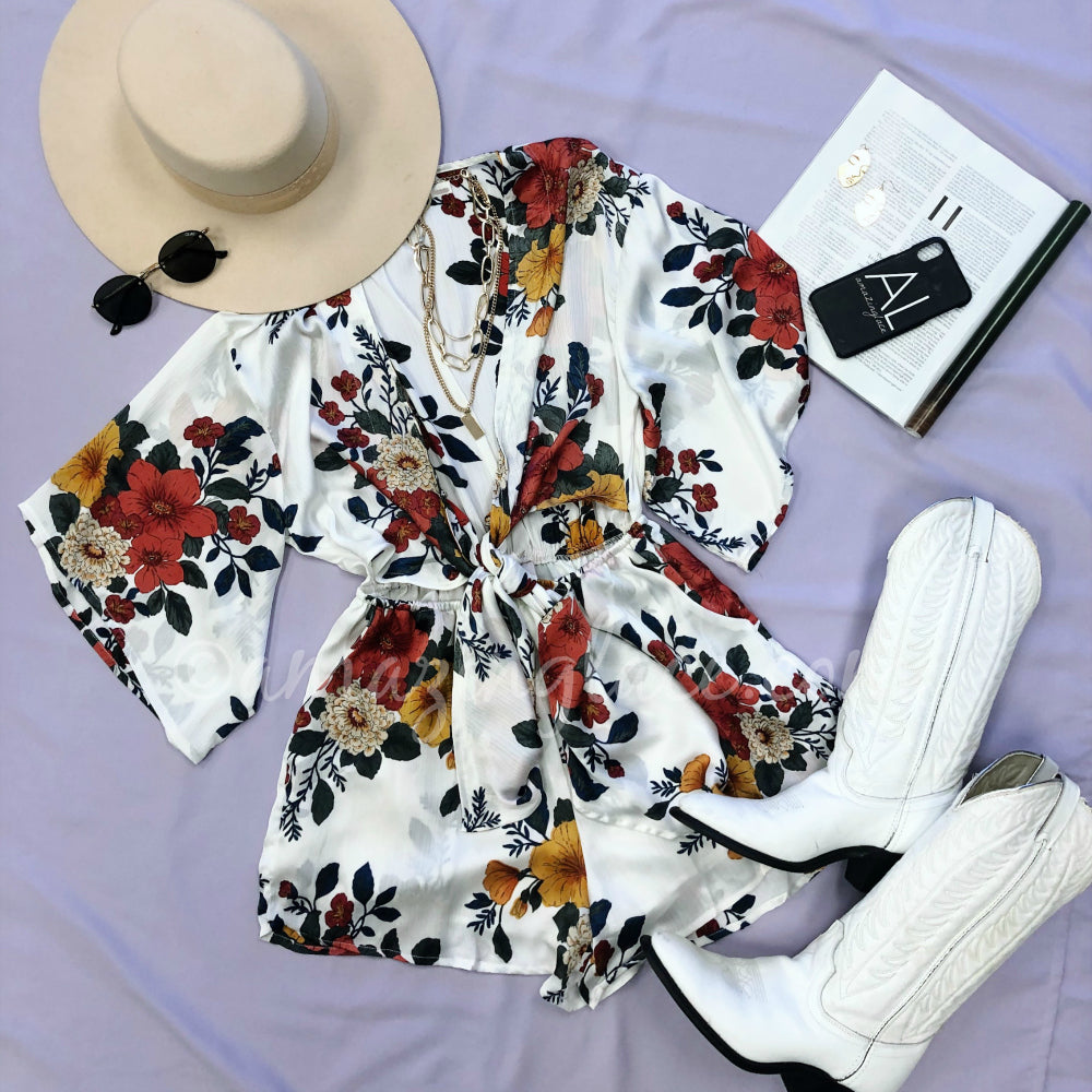 WHITE FLORAL ROMPER AND WHITE VINTAGE BOOTS OUTFIT