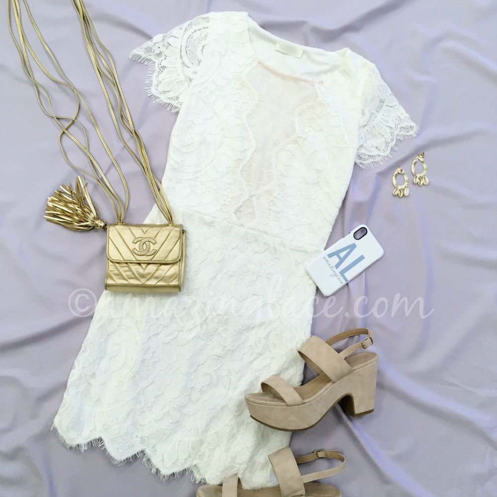 WHITE LACE DRESS AND NUDE HEELS OUTFIT