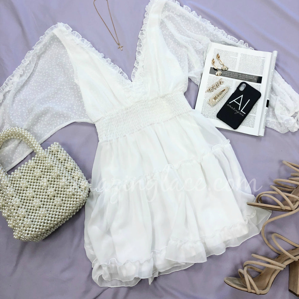 WHITE LACE DRESS AND PEARL PURSE OUTFIT
