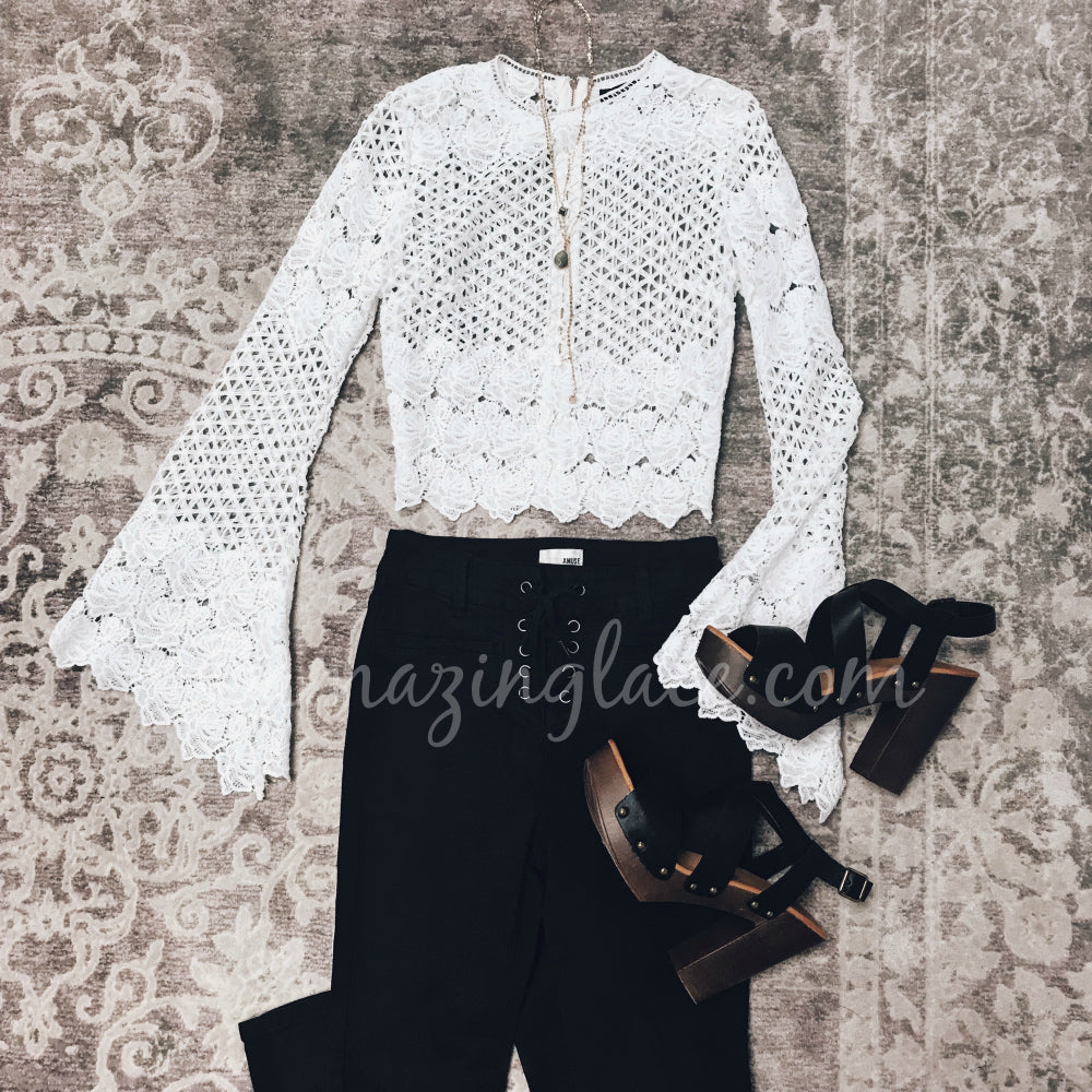 WHITE CROCHET TOP AND BLACK PANTS OUTFIT