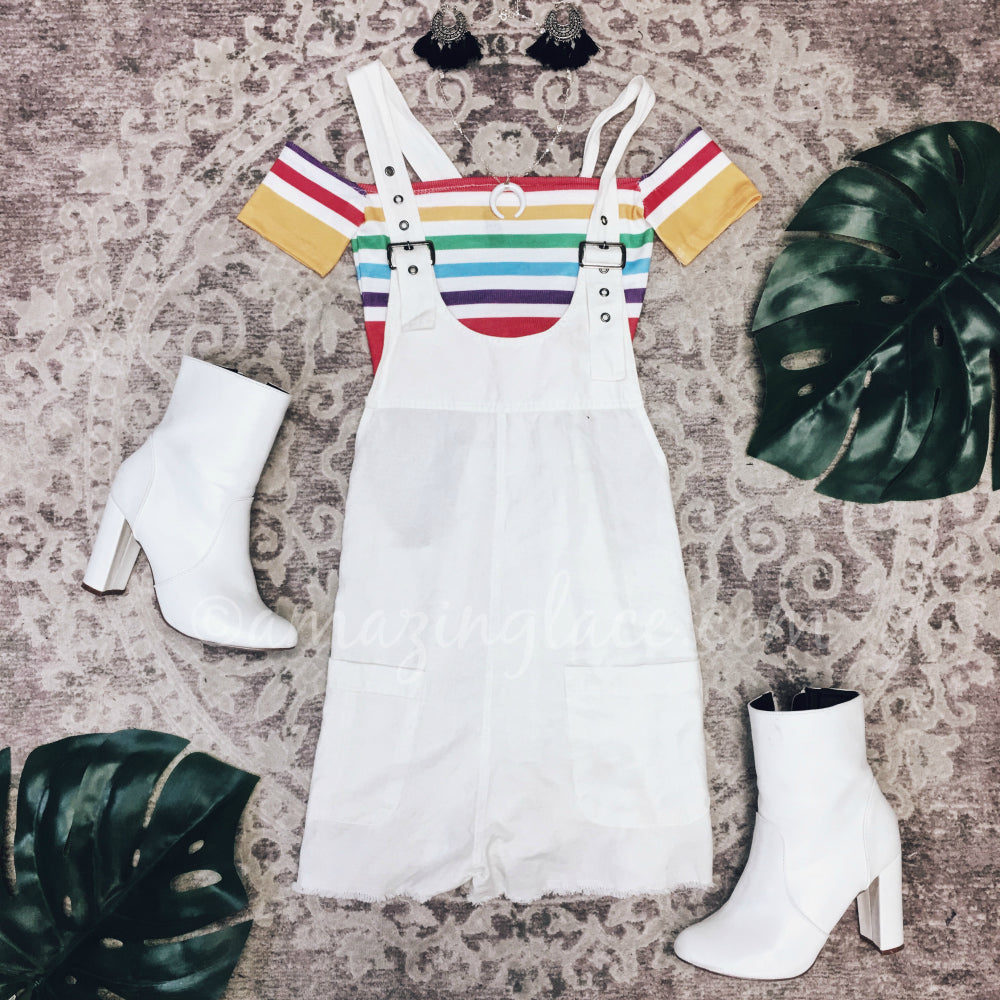 WHITE OVERALL ROMPER AND CROP TOP OUTFIT