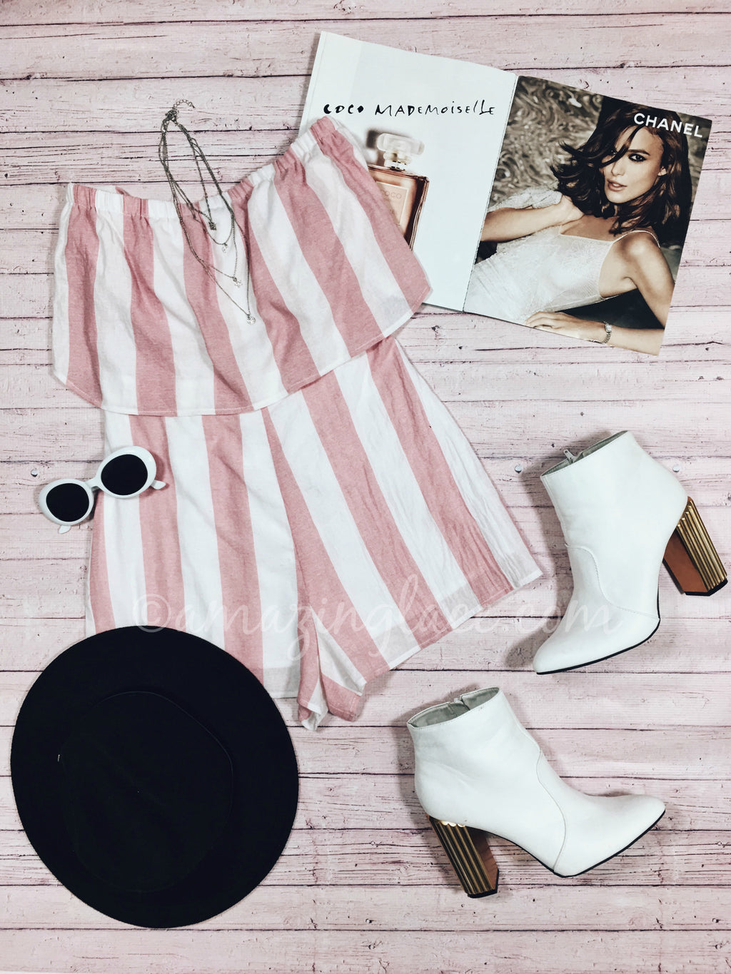 STRIPED ROMPER AND WHITE BOOTIES OUTFIT