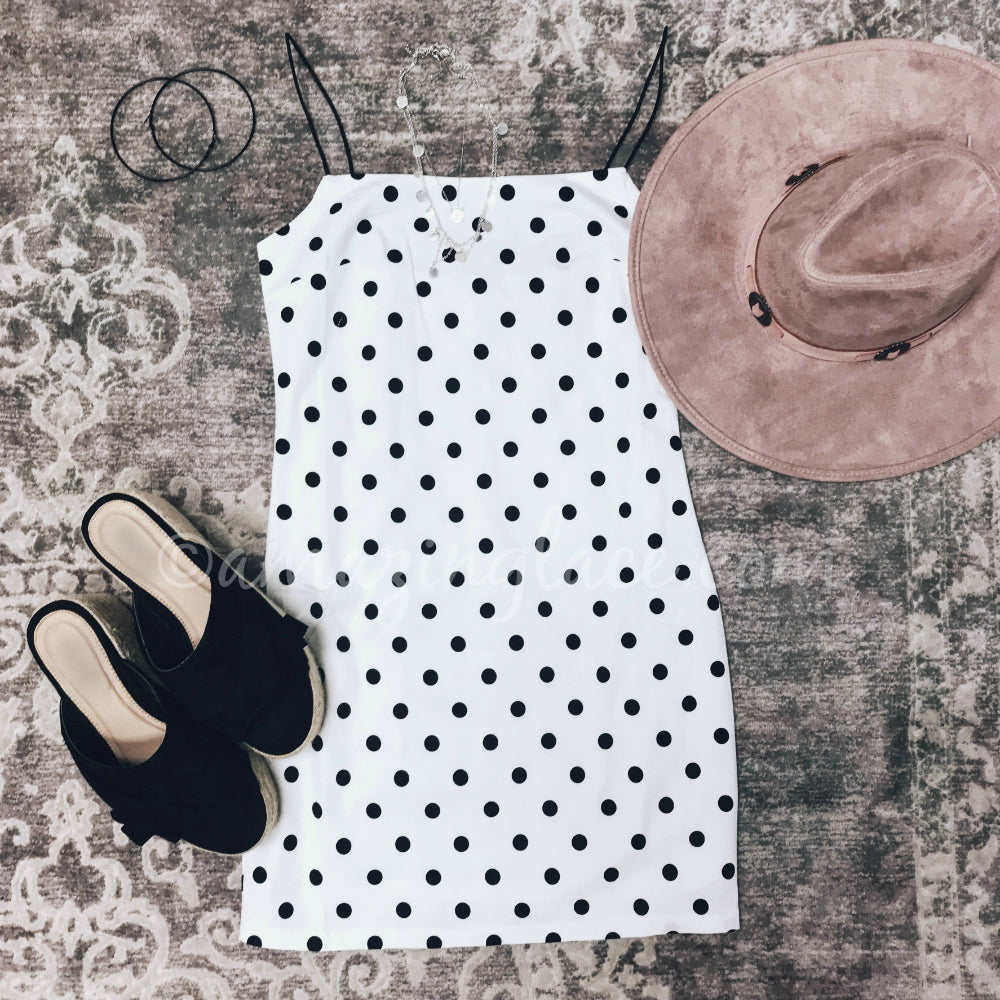 POLKA DOT DRESS AND ESPADRILLES OUTFIT