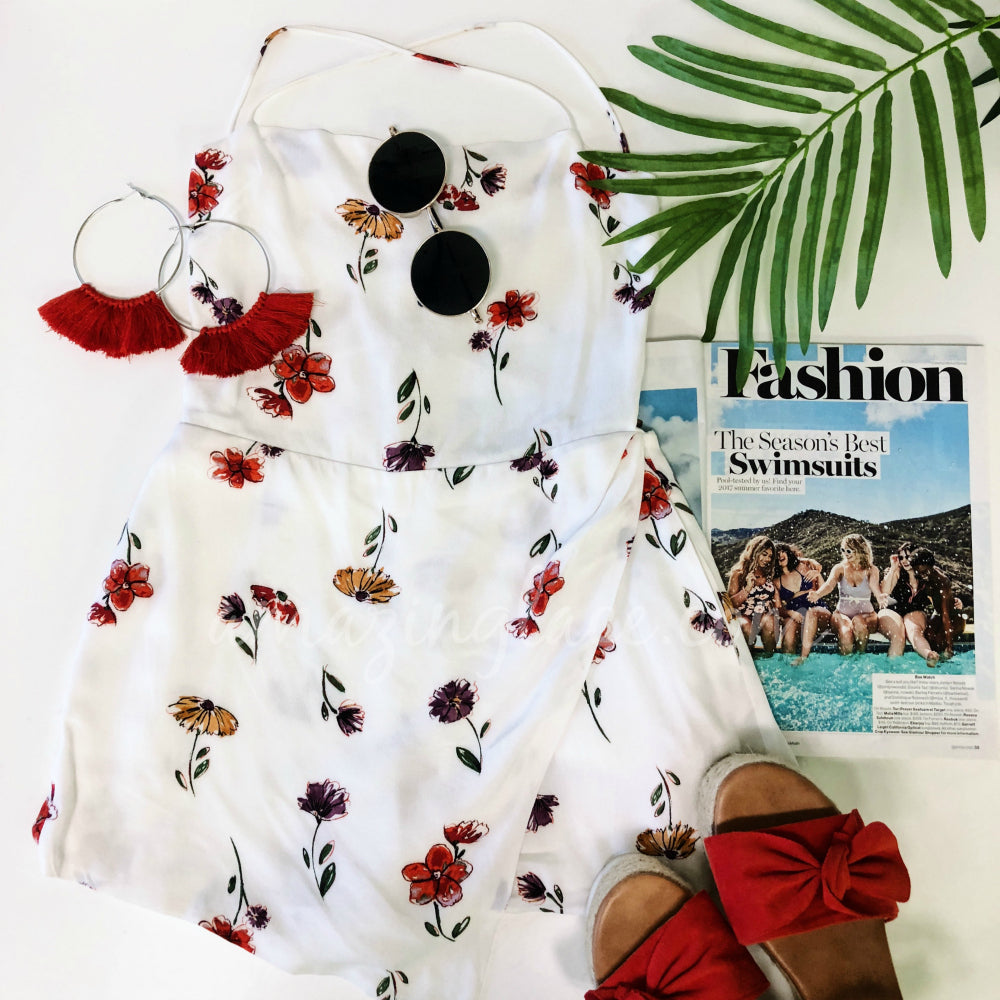 WHITE FLORAL ROMPER DRESS AND RED ESPADRILLES OUTFIT