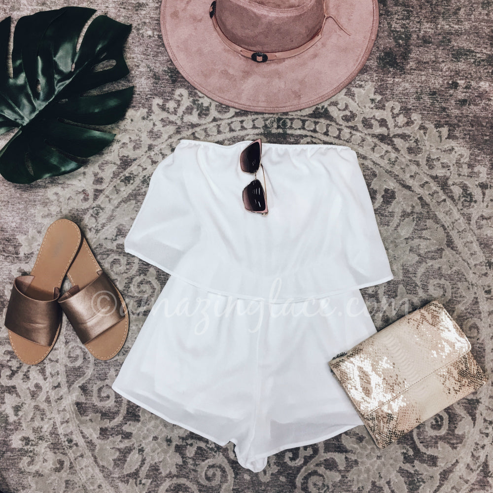 WHITE ROMPER AND PINK HAT OUTFIT