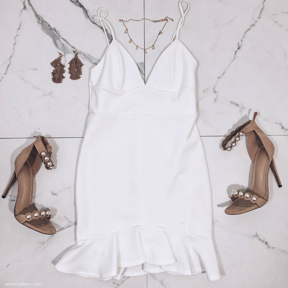 WHITE RUFFLE DRESS AND PEARL HEELS OUTFIT