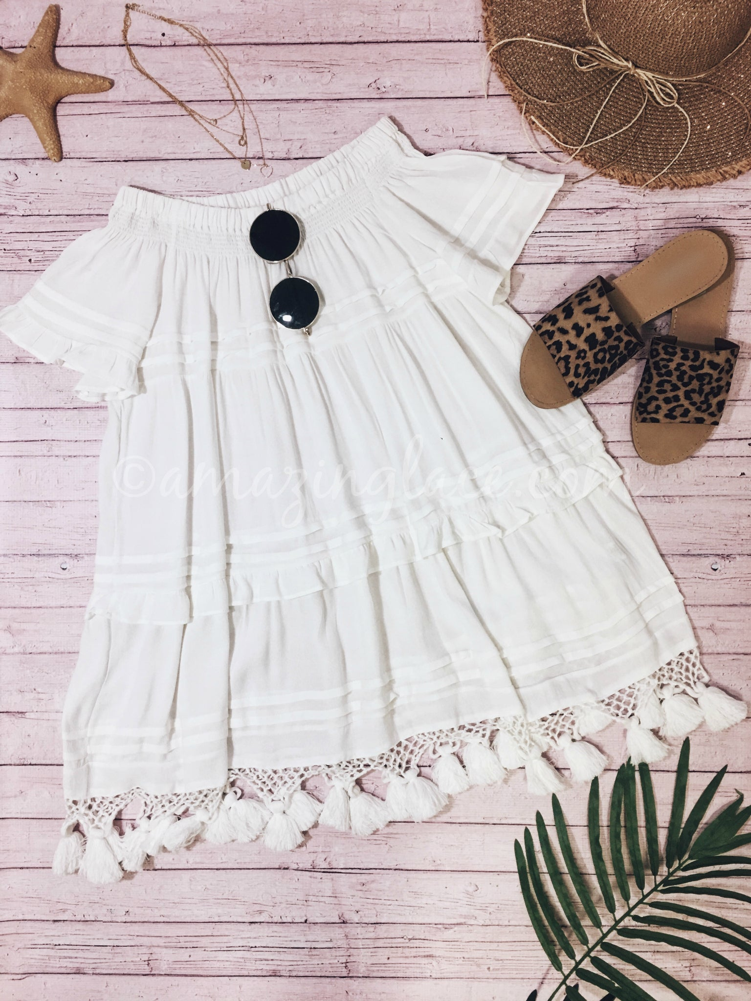 TASSEL DRESS AND SLIDES OUTFIT