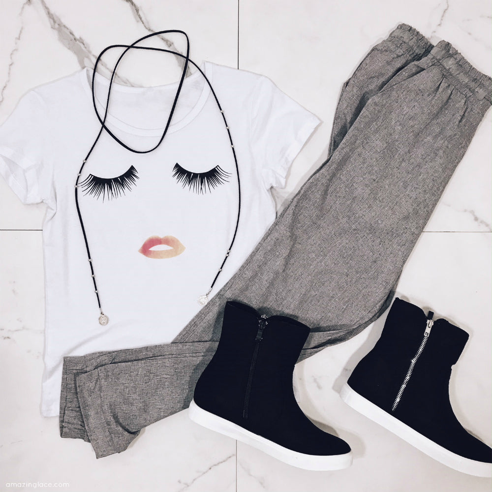 GLAM FACE AND GRAY PANTS OUTFIT