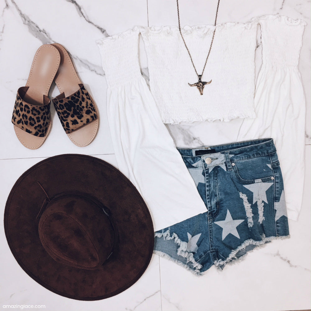 STAR DENIM SHORTS AND WHITE BELL SLEEVE TOP OUTFIT