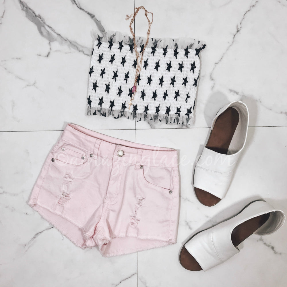 WHITE STAR TUBE TOP AND PINK SHORTS OUTFIT